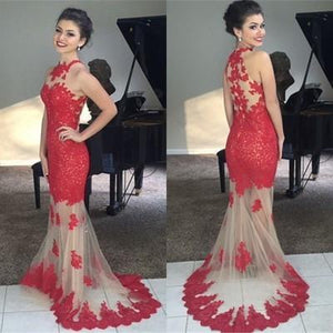 Mermaid Red Lace Bodice Modest Evening Dress With Champagne Tulle Long Party Gown RS150