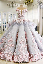 Load image into Gallery viewer, Pretty Flowers Quinceanera Dresses Ball Gown Long Backless Wedding Gowns RS357