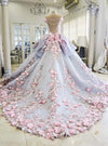 Pretty Flowers Quinceanera Dresses Ball Gown Long Backless Wedding Gowns RS357