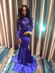 2019 Blue Sexy Appliques Long Sleeve Open Back High Neck Mermaid Prom Dresses RS735