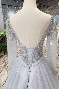 Unique Long Sleeve Tulle Sequins Prom Dresses with Lace up V Neck Evening Dresses RS796