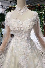 Load image into Gallery viewer, Princess Tulle High Neck Long Sleeve Handmade Flowers Lace up Prom Dresses RS795
