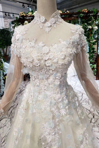 Princess Tulle High Neck Long Sleeve Handmade Flowers Lace up Prom Dresses RS795
