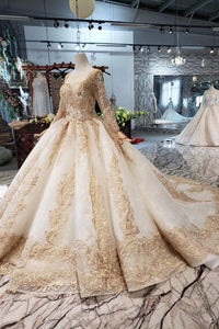 Princess Long Sleeve Ball Gown Scoop With Applique Beads Lace up Prom Dresses RS790