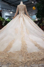 Load image into Gallery viewer, Princess Long Sleeve Ball Gown Scoop With Applique Beads Lace up Prom Dresses RS790