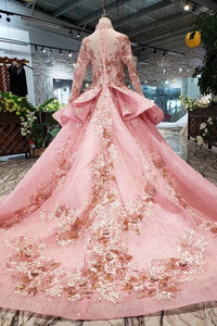Long Sleeve Ball Gown High Neck With Lace Applique Beads Lace up Prom Dresses RS793