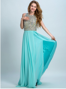 New Arrival Long Chiffon Beading Split Backless Sexy Gown For Teens
