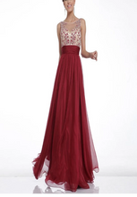 Load image into Gallery viewer, Hot Sales Lace Chiffon Champagne V-Neck Open Back Long Cheap Wine Red Prom Dresses RS31
