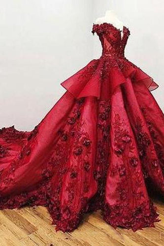 2019 Chic Ball Gown V Neck Beads Appliques Red Off-the-Shoulder Long Prom Dresses RS139