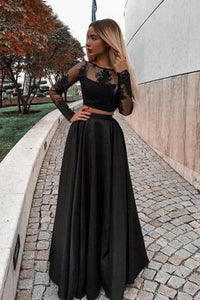 2019 Long Sleeves Scoop Prom Dresses A Line Satin With Applique Two Pieces