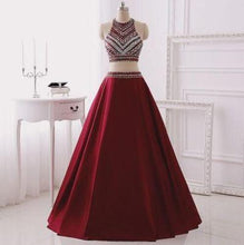 Load image into Gallery viewer, Two Piece Burgundy Glitter Halter Sleeveless Sparkly Prom Dresses For Teens RS142