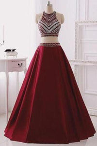Two Piece Burgundy Glitter Halter Sleeveless Sparkly Prom Dresses For Teens RS142