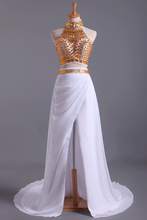 Load image into Gallery viewer, 2019 Two-Piece Prom Dresses High Neck With Beading Chiffon White