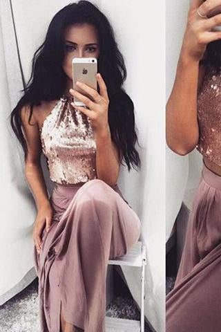 Sexy Two Pieces Shinny Sequin Long A-line Halter Prom Dresses RS687