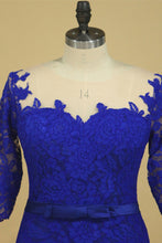 Load image into Gallery viewer, 2019 Plus Size Scoop Sheath Half Sleeve With Sash Dark Royal Blue Lace Mother Of The Bride Dresses