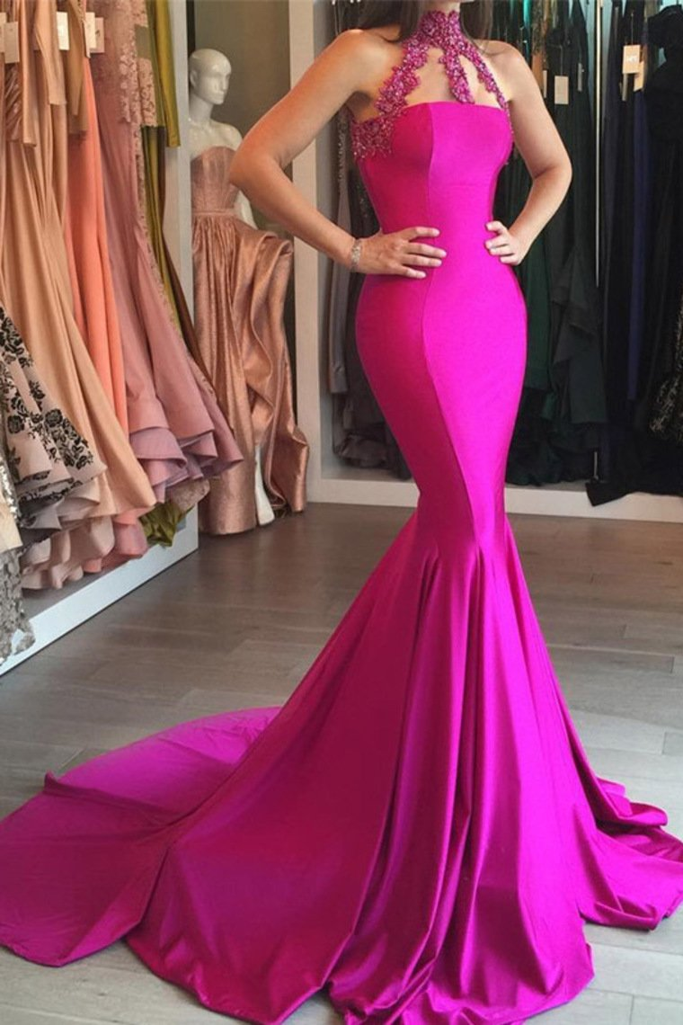 2019 New Arrival High Neck Satin With Applique Mermaid Sweep Train Prom Dresses
