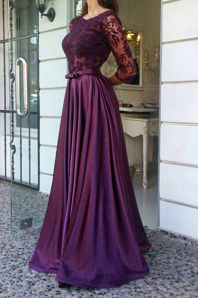 2019 A Line Scoop Prom Dresses Stretch Satin And Lace Bodice With Sash