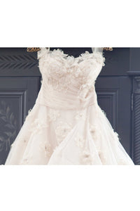 2019 Sweetheart Wedding Dresses A Line Tulle With Ruffles And Handmade Flowers