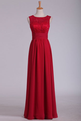 2019 Scoop Open Back Chiffon & Lace A Line Burgundy Bridesmaid Dresses