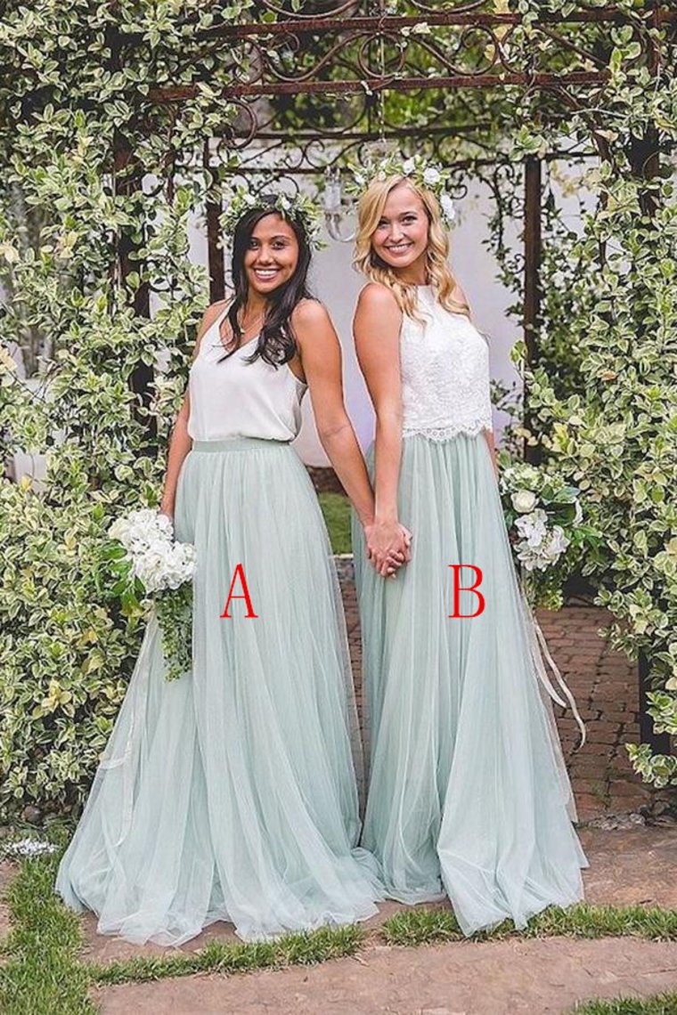 2 Pieces Ivroy And Mint Long A-Line Flowy Simple Cheap Elegant Bridesmaid Dresses