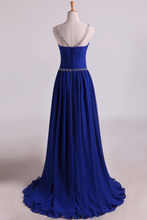 Load image into Gallery viewer, 2019 Scoop Prom Dresses A Line Pleated Bodice Chiffon With Beads Dark Royal Blue