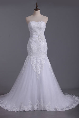 2019 White Sweetheart Wedding Dresses Tulle With Applique & Beads Mermaid/Trumpet