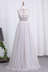 2019 Prom Dresses Scoop A Line Tulle & Lace With Sash And Beads Bodice