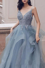 Load image into Gallery viewer, Spaghetti Straps Blue Gray Tulle V Neck Long Ruffles Prom Dresses with Lace Applique SRS15411