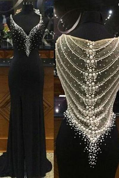 Mermaid Black Long Charming Evening Dress Formal Women Dress Prom Dresses RS97