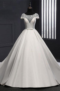 Formal Vintage Ivory Lace Satin Long Ball Gown Wedding Dresses