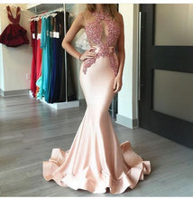 Load image into Gallery viewer, Mermaid Sexy Appliques Long Cheap Evening Dress Formal Women Dress prom dresses F68