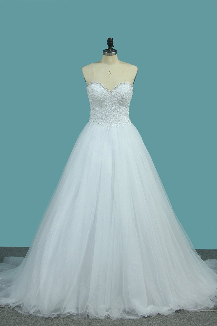 2019 Sweetheart A Line Tulle Wedding Dresses Beaded Bodice Court Train