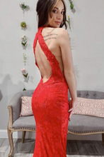Load image into Gallery viewer, 2019 Prom Dresses Mermaid Lace High Neck Open Back Sweep Train