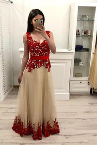 2019 Tulle A-Line Straps  Prom Dresses WIth Appliques Floor Length