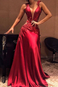 2019 Straps Prom Dresses A Line Satin With Applique And Beads