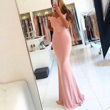 Load image into Gallery viewer, Off-the-Shoulder Mermaid Sexy Blush Pink Sweetheart Appliques Long Prom Dresses RS963
