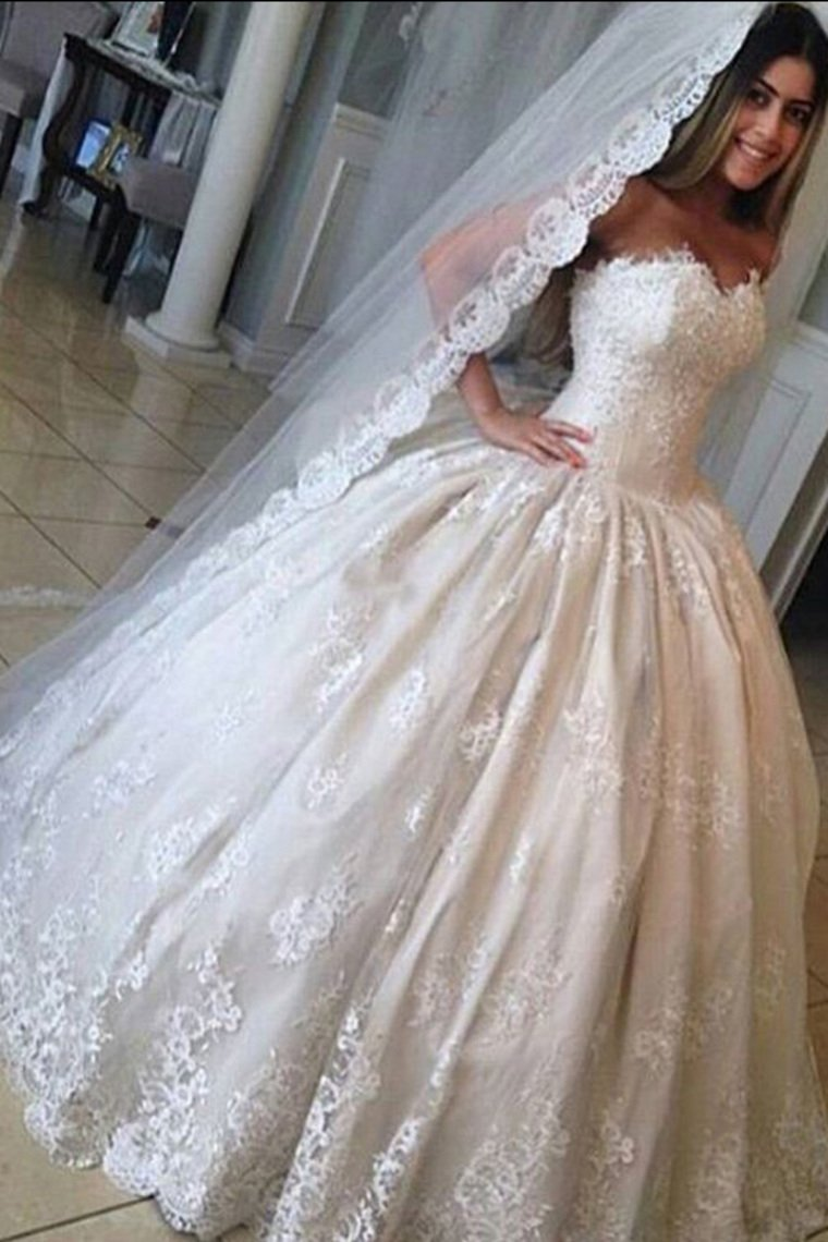 2019 Sweetheart Wedding Dresses Ball Gown Tulle With Applique