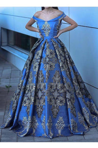 2019 Off The Shoulder Satin Prom Dresses A Line With Applique Sweep Train