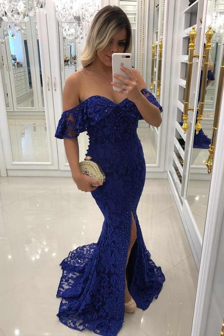 2019 Lace Mermaid Prom Dresses With Beads And Slit Sweep Train