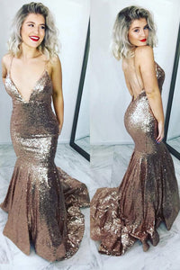 2019 Sexy Trumpet/Mermaid Sequins Open Back Prom Dress Spaghetti Straps
