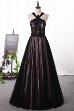 Load image into Gallery viewer, 2019 Prom Dresses Tulle & Lace With Beading Floor Length A Line
