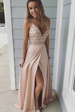 Load image into Gallery viewer, Modest Spaghetti Straps Long V-Neck Open Back Pink Beading Prom Dresses