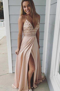Modest Spaghetti Straps Long V-Neck Open Back Pink Beading Prom Dresses