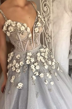 Load image into Gallery viewer, 2019 Ball Gown Spaghetti Straps Quinceanera Dresses With Handmade Flowers Tulle