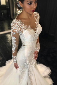 Long Sleeves Court Train Ivory V-Neck Mermaid Tulle Wedding Dress With Lace Appliques RS64