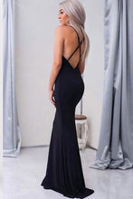 Load image into Gallery viewer, Mermaid V-Neck Criss-Cross Straps Spaghetti Straps Sweep Train Black Satin Prom Dresses RS384