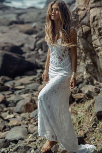 Long Simple A-Line Sheath Spaghetti Straps Backless Sweetheart Lace Beach Wedding Dresses RS382