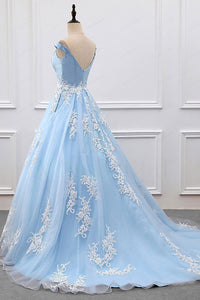 2019 Sky Blue Appliques Charming Ball Gown Off-the-Shoulder V-Neck Prom Dresses RS573