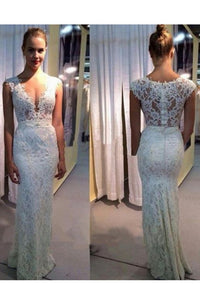 2019 New Arrival V Neck Lace Mermaid Floor Length Wedding Dresses