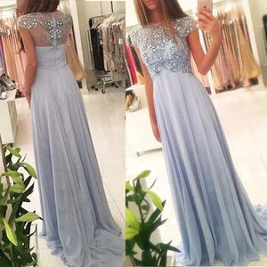 2019 New Arrival Beaded Scoop Handmade Stones Long A-Line Chiffon Prom Dresses RS176
